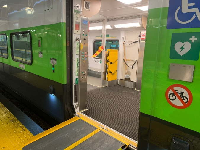 Image shows the door leading into an accessibility coach.
