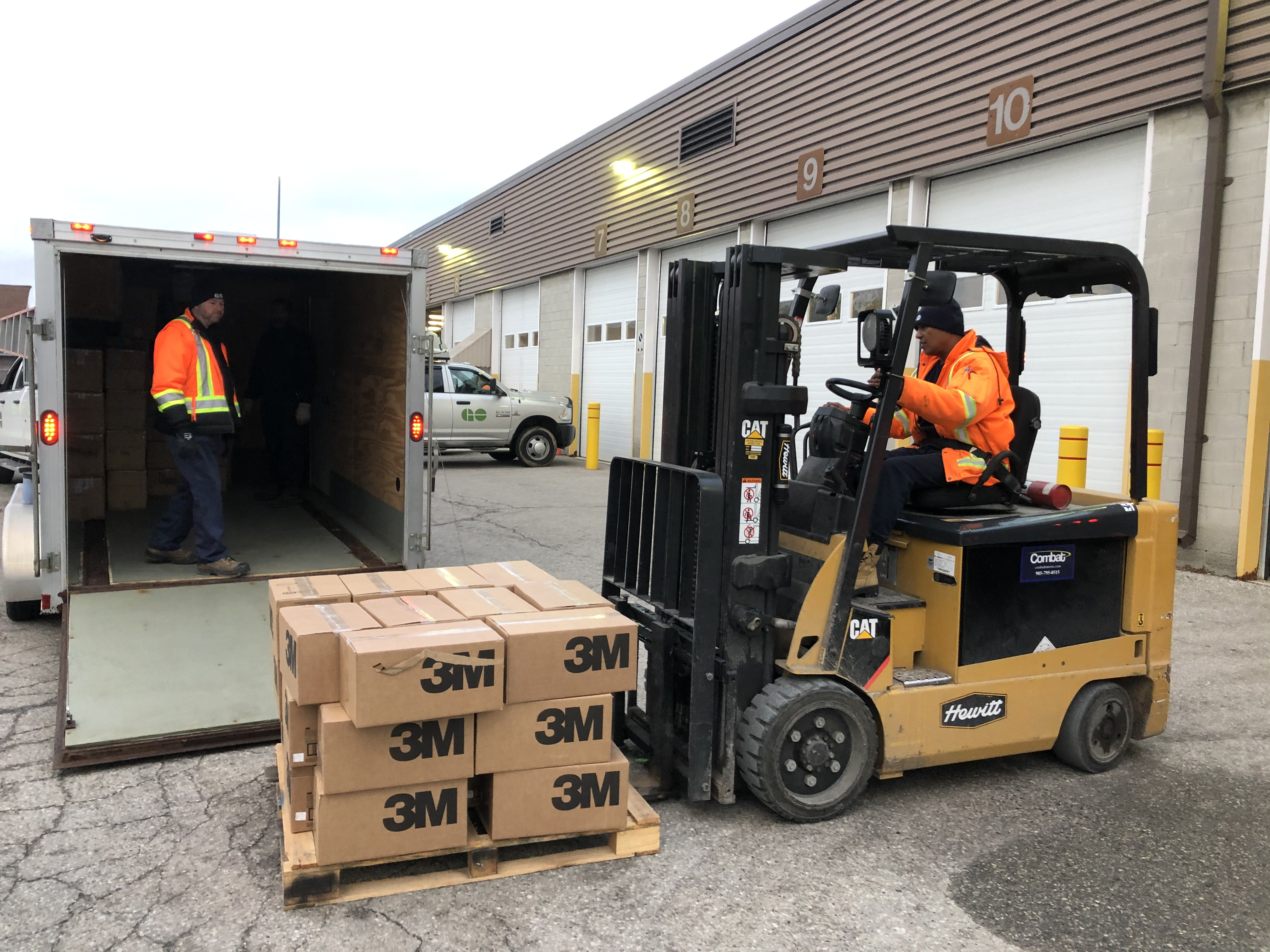 Image shows a forklift moving 3M boxes.