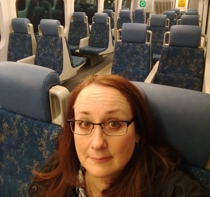 A GO customer takes a self of herself sitting in an empty train