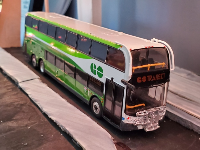 Image shows a small GO bus.