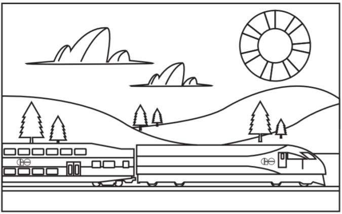 Image shows a colourig page of a train on a landscape.