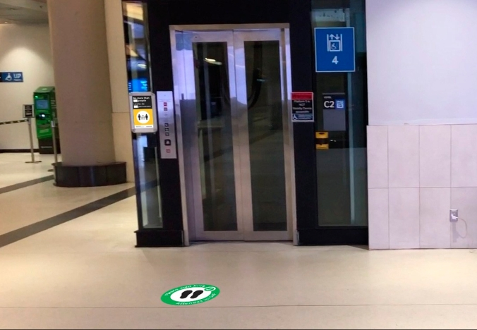 New signage outside elevators in the GO York Concourse