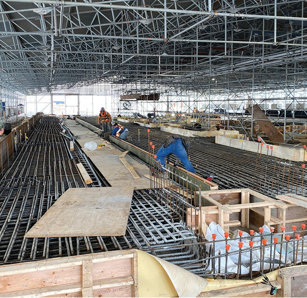 Formwork continues inside the tent at the Finch West LRT Maintenance and Storage Facility site