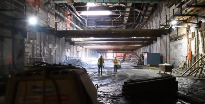 Image shows crews working in the tunnels.