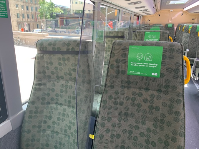 New plastic dividers being tested out on select GO buses