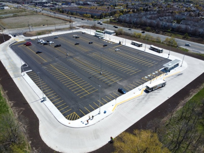 Aerial photo of the new park and ride in Burlington