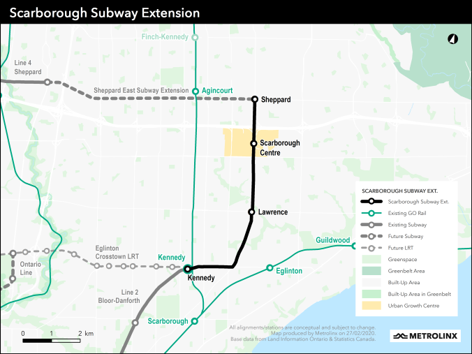 Map of the three-stop Scarborough Subway Extension route