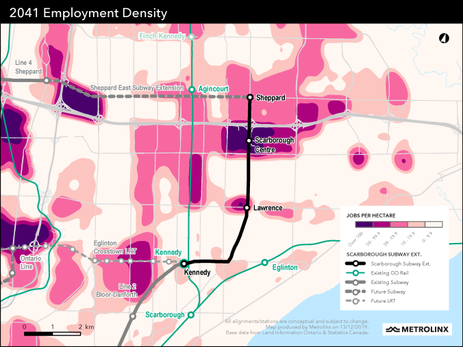 Graphic showing projections for employment density in the area served by the Scarborough Subway Extension