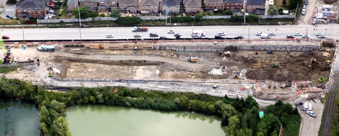 Aerial view of excavation progress on the east side of the grade separation