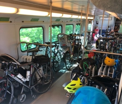 Inside of a Specialized bicycle train car full of bikes and