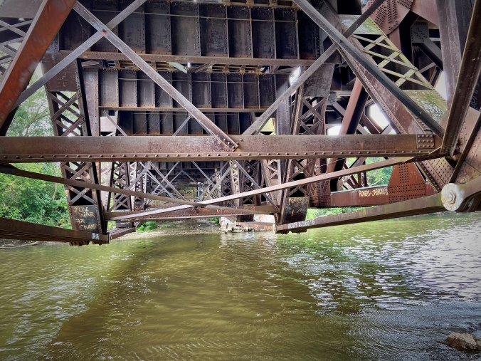 The underside of the rail bridge