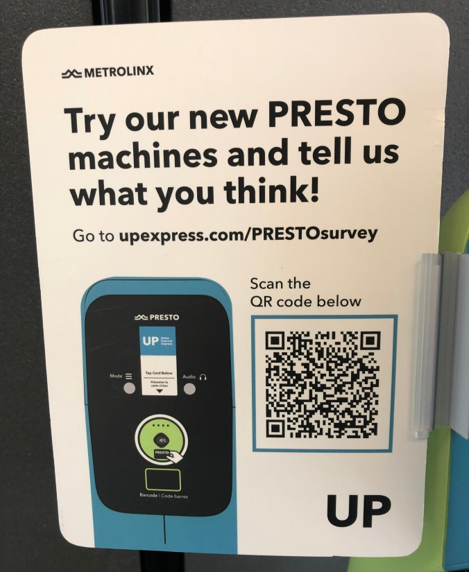 Closer look at the signs that are attached to the PRESTO devices