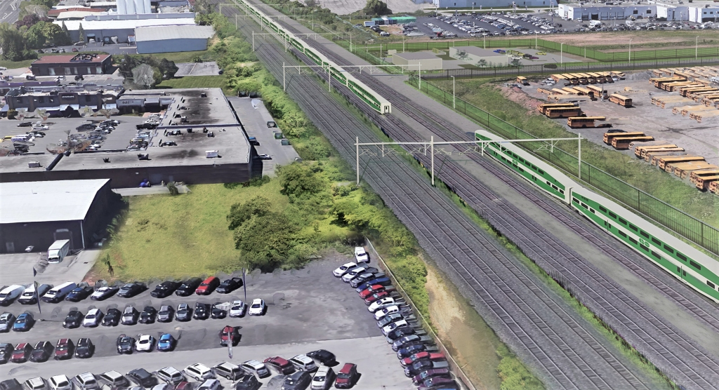 Artist's rendering of electrified GO train service operating on the Lakeshore West GO train corridor, using overhead catenary system