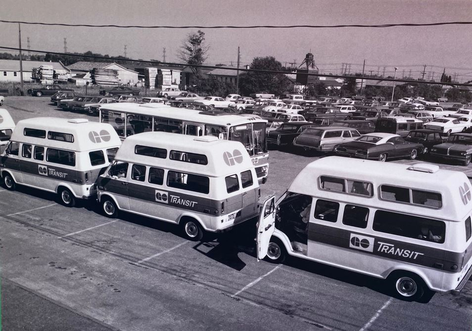GO vans lined up in a parking lot.