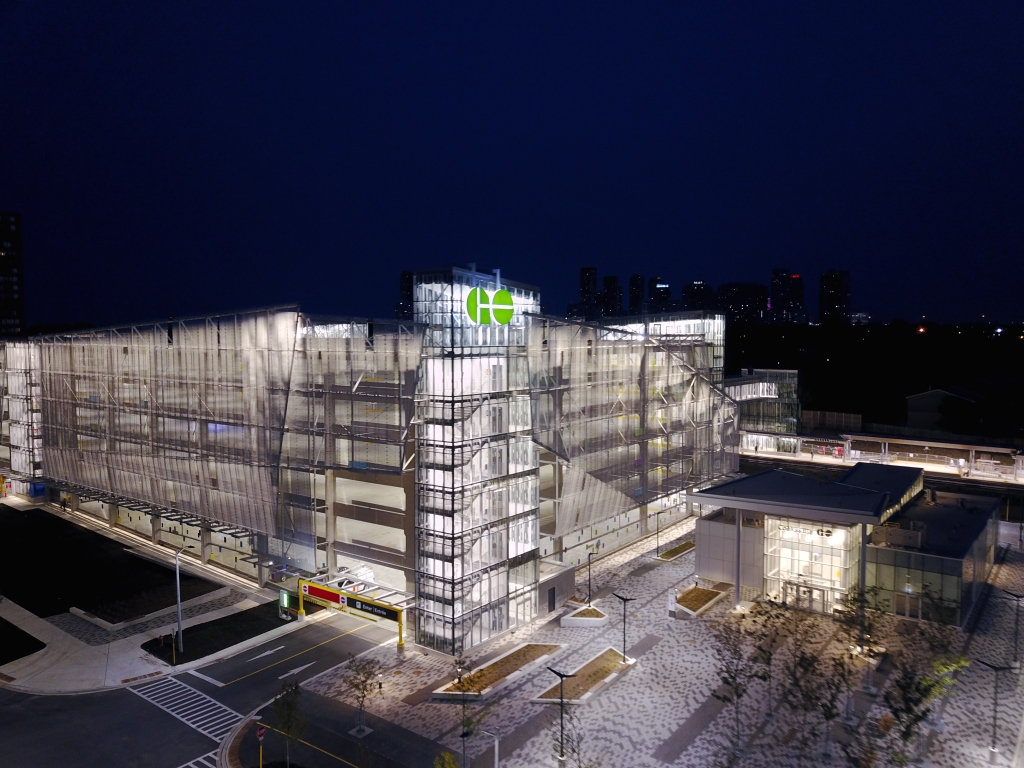 aerial view of The new parking garage and station building in the early morning
