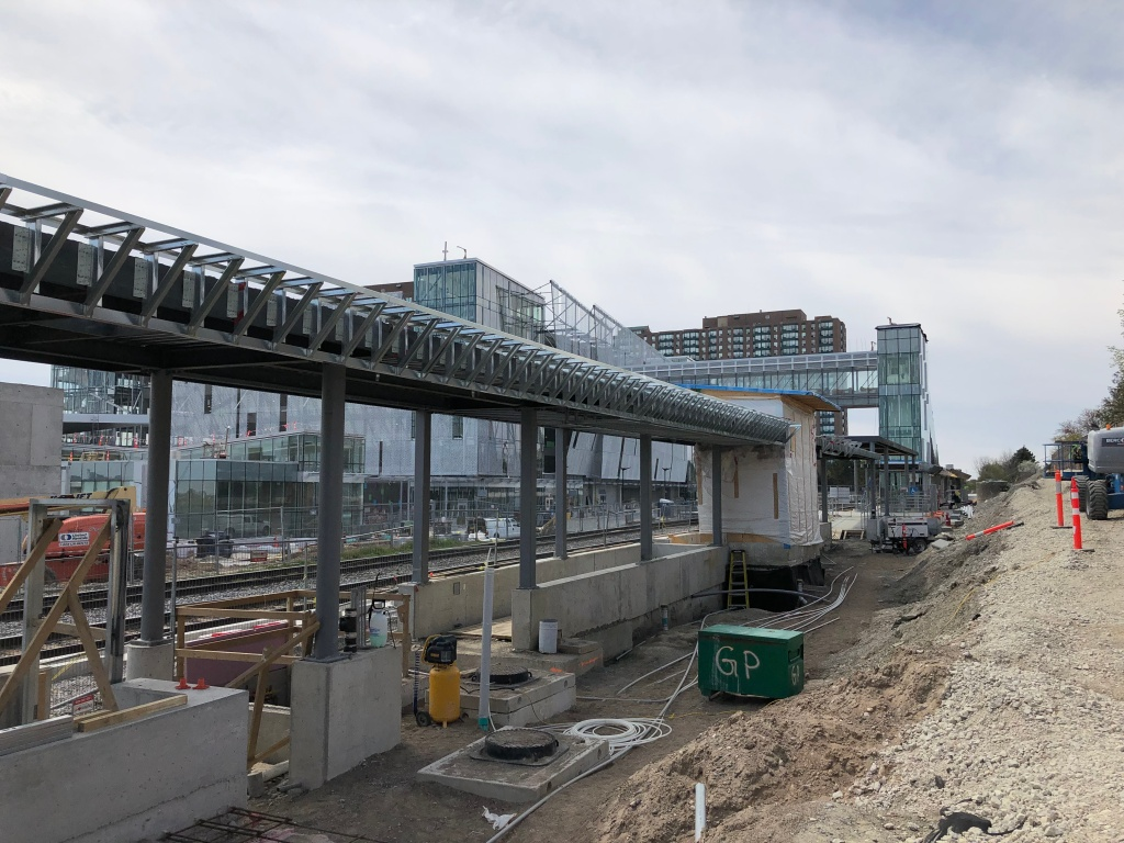 view of the east platform under construction earlier this year