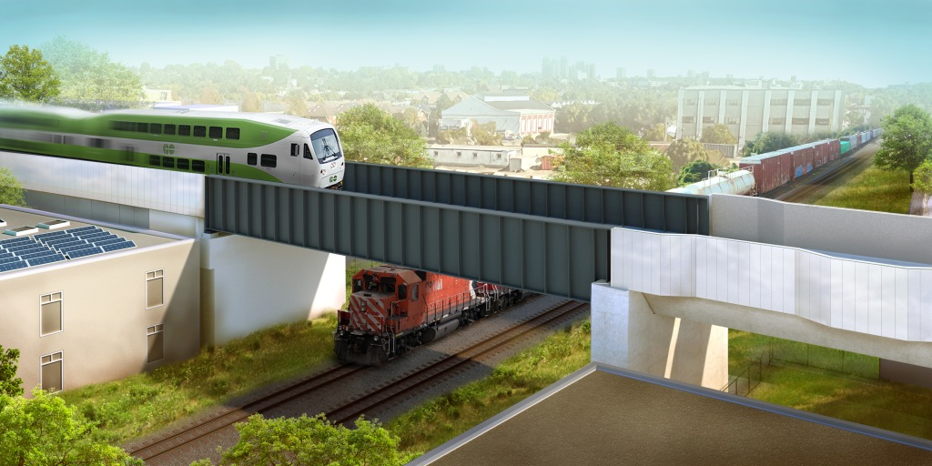 Design rendering showing the raised guideway above the CP tracks