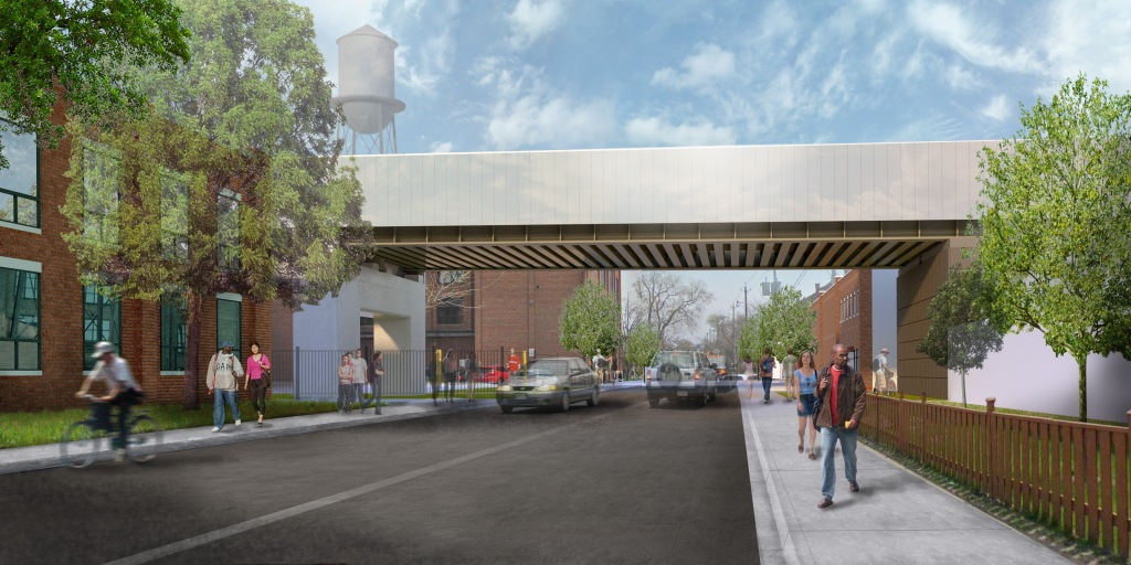 Design rendering showing the elimination of the at-grade crossing, looking east from Wallace Avenue (Metrolinx image).