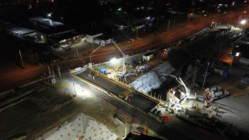 Day and night, the progress continues on the work taking place near Steeles Avenue on the Stouffville line.