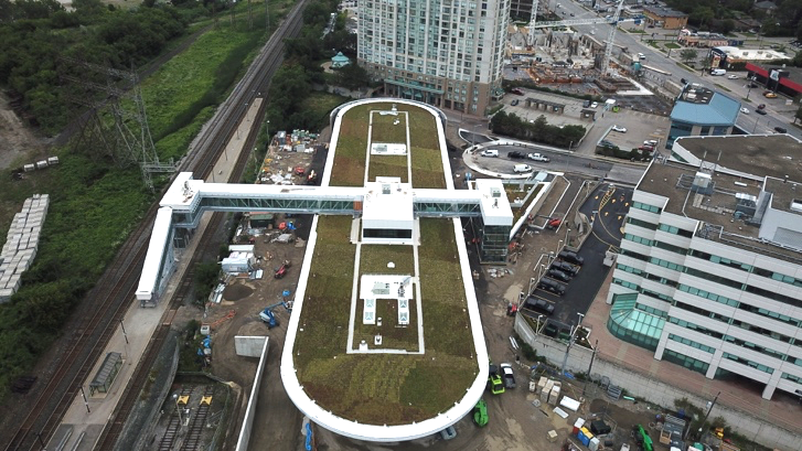 Image shows green roof of Kipling station.