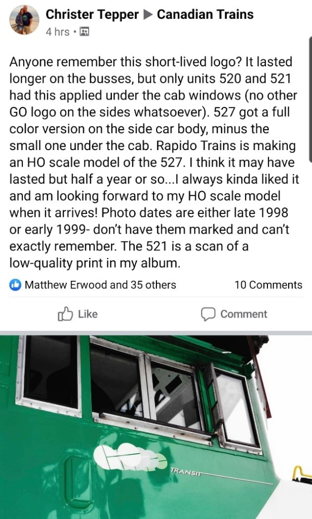 A screengrab of a facebook post with the lesser-known GO logo