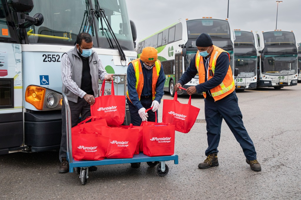red bags could be seen loading into the special edition buses and Purolator Quick Stops throughout the fill-a-bus food drive campaign