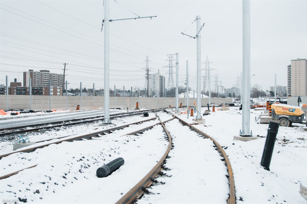 Image shows tracks in the snow.