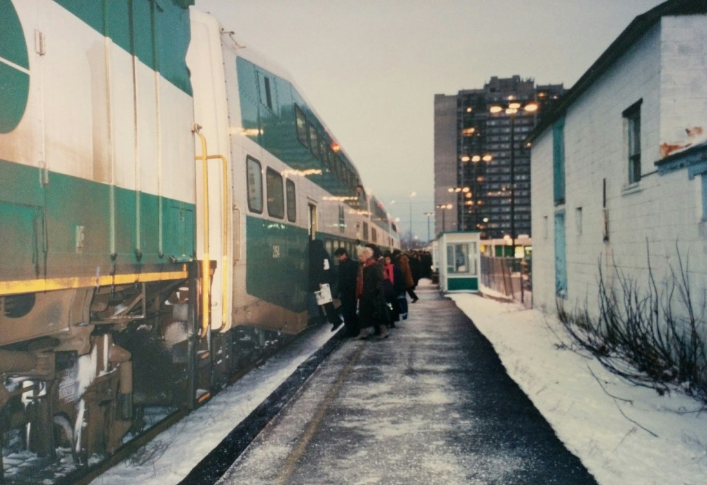 Commuters getting on a GO Train in the 1980s during the winter