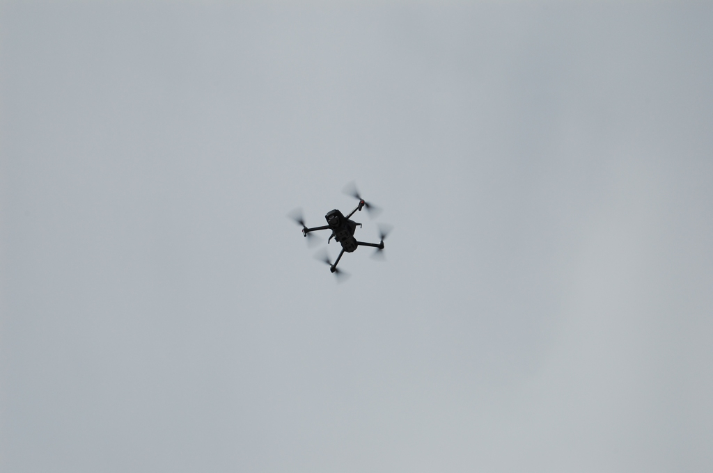 Image shows the drone in the sky.